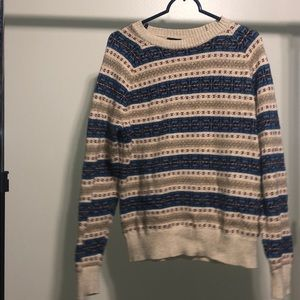 J Crew Holiday Tan And Blue Sweater Crewneck